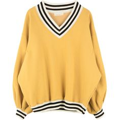 Striped Trim Baggy V-Neck Sweatshirt (€35) ❤ liked on Polyvore featuring tops, hoodies, sweatshirts, long sleeve tops, baggy tops, yellow sweatshirt, long sleeve sweatshirt and loose fit tops
