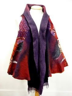 Nuno felt sleeveless waist coat / wrap 'Red Butterfly'. $455.00, via Etsy.