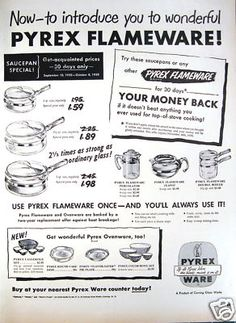 1950 Pyrex Flameware Glass Cookware Print Kitchen Ad