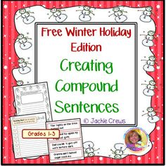 """Very little prep! I made this especially for my followers! This special free holiday product is designed to be used as a file-folder game, but it can just as easily be used a paired work or independent work in a """"fast finishers"""" envelope. It's also valuable for use as early intervention for students who struggle with writing to understand the compound sentence structure or how to join sentences.Students manipulate the sentence strips and connecting word cards to form the compound sentences…"""