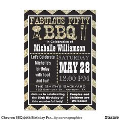 moms birthday Chevron BBQ Birthday Party Invitation with faux glitter sparkle design. Perfect invitation for a large or small party to celebrate the fiftieth birthday of a 50th Birthday Themes, Moms 50th Birthday, 50th Birthday Party Invitations, Birthday Bbq, Fifty Birthday, Birthday Woman, Birthday Parties, Fiftieth Birthday, Birthday Ideas