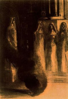 """Odilon Redon, """"The Black Torches"""" (1889) Chacoal on paper, Royal Library of Belgium, Bruxelles"""