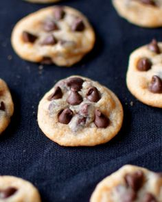 Yammie's Noshery: Mini Chocolate Chip Cookies.  LOVE these. I didn't make them as small as the picture.  More like the size of a Mrs. Field's nibbler cookie.  They're TOO EASY to just pop in your mouth, though!  Loved 'em.  Will make 'em again.