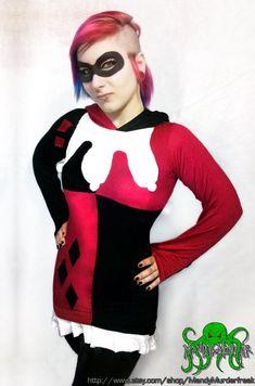 Harley Quinn Hoodie Dress por MandyMurderfreak en Etsy, $75.00
