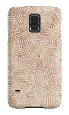 """""""Iced coffee and white zentangles"""" Samsung Galaxy Cases & Skins by Savousepate on Redbubble #galaxycase #phonecase #galaxyskin #phoneskin #abstract #zentangles #doodles #scrolls #spirals #brown #chocolate #icedcoffee #pantonecolors2016"""