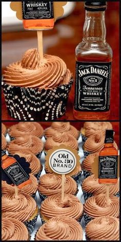 Jack Daniel's chocolate frosted vanilla cupcakes (I keep seeing this picture aro. Jack Daniel's chocolate frosted vanilla cupcakes (I keep seeing this picture around with no recip Jack Daniels Torte, Bolo Jack Daniels, Jack Daniels Chocolate, Jack Daniels Cupcakes, Festa Jack Daniels, Jack Daniels Wedding, Jack Daniels Drinks, Jack Daniels Birthday, Whiskey Cupcakes