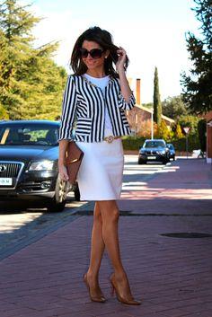 striped blazer + white skirt + white tee + nude shoe and clutch