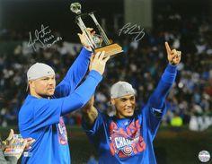 Jon Lester & Javier Baez Dual Signed Chicago Cubs 2016 NLCS Holding MVP Trophy 16x20 Photo w/NLCS Co-MVP's