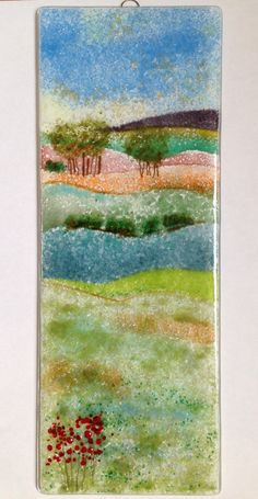 Large fused glass landscape panel by Fired Creations