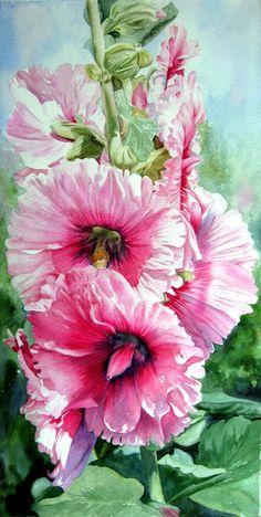 Hollyhock - watercolor