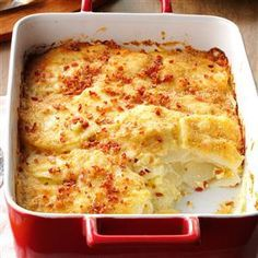 Bacon Potato Bake Recipe -This cheesy potato casserole is always popular. It's a nice change from mashed potatoes and with a bread crumb and crumbled bacon topping, it looks as good as it tastes. —Helen Haro, Yucaipa, California