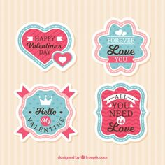 Flat ValentineS Day LabelBadge Collection Free Vector HttpIft