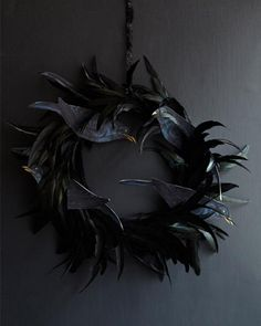 Black Feather Wreath with... THE BIRDS!