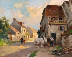 At the Blacksmith, oil on canvas, by Edouard Leon Cortes, French, 1882-1969.