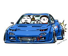 "JDM Japanese old school ""RX-7 FD"" original character ""mame mame rock"" / © ozizo Official web ""Crazy Car Art"""