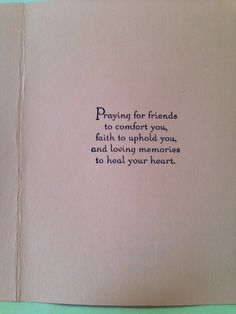 Inside of sympathy card