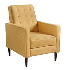 Mervynn Mid-Century Button Tufted Fabric Recliner Club Chair by Christopher Knight Home - Overstock - 15037715 - muted purple + dark espresso Small Recliner Chairs, Tufting Buttons, Club Chairs, Mid-century Modern, Living Room Decor, Armchair, Upholstery, Mid Century, Home And Garden