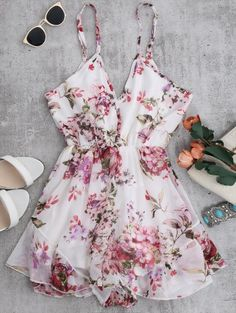 Cheap womens rompers jumpsuit, Buy Quality women rompers directly from China beach romper Suppliers: ZAFUL Women Rompers Jumpsuits 2017 Summer Holiday Floral Print Sexy Flower Chiffon Cami Strap Beach Rompers Playsuits Overalls Chiffon Floral, Print Chiffon, Cute Rompers, Rompers Women, New Fashion Trends, Floral Romper, White Romper, Lace Romper, Holiday Outfits