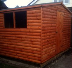 Garden Shed,Deluxe Apex, Log Lap, Treated Red Cedar @ Davies Timber Wales, Cwmbran