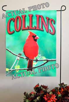 Personalized garden flags! Check out this item in my Etsy shop https://www.etsy.com/listing/257153869/garden-flag-cardinal-bird-garden-flag