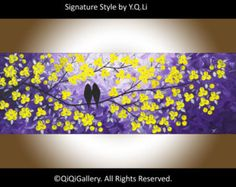 """Yellow purple painting Love birds art Colorful Original artwork yellow flowers wall art wall decor canvas art """"Evening Chat"""" by QIQIGALLERY"""