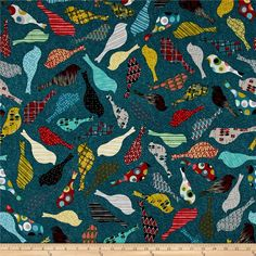 Penny Rose Mid Mod Bird Teal from @fabricdotcom  Designed by Emily Hayes for Penny Rose Fabrics, this cotton print collection features retro mid-century modern flair. Perfect for quilting, apparel, and home decor accents. Colors include teal, red, black, yellow, grey, and cream.
