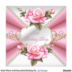 Pink White Gold Beautiful Birthday Party 5.25x5.25 Square Paper Invitation Card