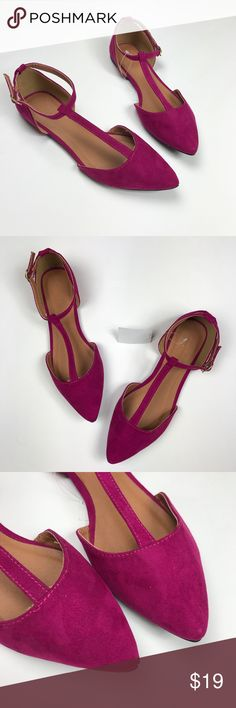 Pointed Toe Flats in Berry NWT Pointed Toe Flats in Berry.  Smooth faux suede sculpts a very sophisticated pair of flats, with a skinny T strap connecting the perfectly pointed toe to the buckled ankle strap.   Cushioned insole Non-skid sole  Brand: Charlotte Russe. Charlotte Russe Shoes Flats & Loafers