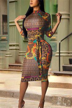 d9d1a5c51891 High Neck Three Quarter Sleeve Printed Midi Dress Top Model Fashion, Men  Fashion, Yellow