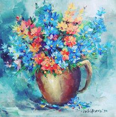"""Oamenii au luat o mică pauză dar viața merge mai departe. Natura nu s-a oprit, florile sunt la fel de frumoase, culorile sunt din plin oriunde privim. Să fim optimiști! Și chiar dacă nu are legătură cu tabloul, are legătură cu momentul: """"Domnul este lumina şi mântuirea mea: de cine să mă tem? Domnul este sprijinitorul vieţii mele: de cine să-mi fie frică? ... Chiar război de s-ar ridica împotriva mea, tot plin de încredere aş fi."""" Flowers, Painting, Art, Art Background, Painting Art, Kunst, Paintings, Performing Arts, Royal Icing Flowers"""