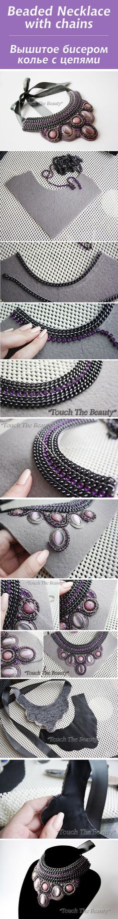 - Вышитое бисером колье с цепями / Beaded Necklace with chains Collier de perles avec chaînes # perle # tutoriel Diy Earrings, Diy Necklace, Necklace Ideas, Amethyst Earrings, Diy Bracelet, Fabric Earrings, Cluster Necklace, Necklace Charm, Beaded Jewelry