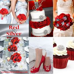 [ Red Silver Wedding Colors Newhairstylesformen 28 ] - Best Free Home Design Idea & Inspiration Red Silver Wedding, Silver Wedding Colours, Winter Wedding Colors, Wedding Color Schemes, Wedding Yellow, Wedding Vows, Our Wedding, Dream Wedding, Wedding Stuff