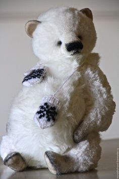 Купить Снежок 29 см во весь рост - антикварный плюш, любимый, интерьерная игрушка