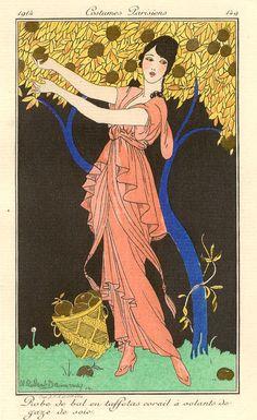 Robert Dammy - Robe de Bal en Taffetas. Hand-coloured, signed pochoir fashion illustration (Plate 149)from the 1914 Journal des Dames et des Modes - a Parisian fashion journal published by Tom Antongini from June 1912 until August 1914.