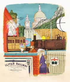 A commemorative print for the 1963 centenary of the London Underground, by William Fenton.