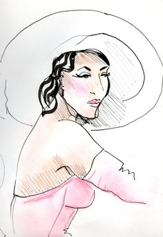 created by me - Gwen Coppari Hat design - black ink and pastels Drawing Stuff, Fashion Illustrations, Pastels, Disney Characters, Fictional Characters, My Favorite Things, Disney Princess, Drawings, My Style