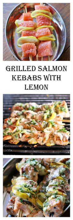 Salmon Kebabs at Recipes Food and Cooking. Fast and Easy in a delicious garlic and lemon marinade.