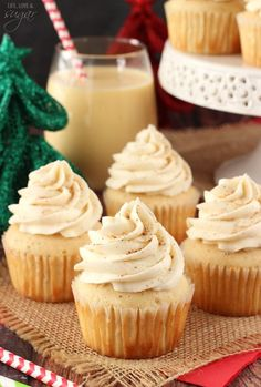 Eggnog Cupcakes - So moist and full of eggnog! Perfect dessert for Christmas!