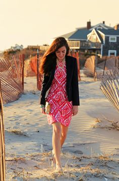 Sarah layers up our Charlene Dress with a blazer & accessories for a great look!   Shop the Charlene Dress: http://www.lillypulitzer.com/product/Dresses/entity/c/38/5187.uts?swatchName=Island+Coral+Reef+Madness