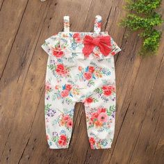 Sweet Ruffled Bowknot Floral Strap Jumpsuit for Baby Girl
