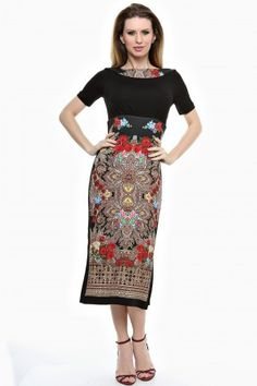 Rochie conica lunga cu imprimeu si garnituri uni. Lace Skirt, Two Piece Skirt Set, Boho, Skirts, Dresses, Fashion, Gowns, Moda, Fashion Styles