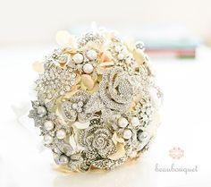 Brooch Bouquet ON SALE Crystal Brooch Custom Order by beauBouquet, $300.00