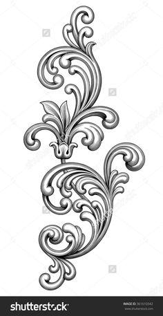Vintage Baroque Victorian Frame Border Monogram Floral Ornament Leaf Scroll Engraved Retro Flower Pattern Decorative Design Tattoo Black And White Filigree Calligraphic Vector Heraldic Shield Swirl - 361610342 : Shutterstock