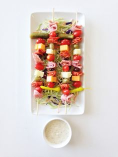Italian Grinder on a stick: http://www.stylemepretty.com/living/2015/05/21/26-foods-even-more-fun-on-a-stick/