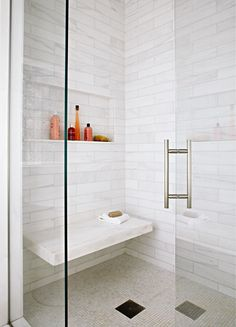 Instead of installing a weighty shower bench in your walk-in shower, opt for a sleek floating seat that doesn't clutter up the interior. #showerremodel #showerbenchideas #bathroomideas #walkinshower #bhg Big Shower, Shower Niche, Shower Floor, Shower Walls, Bathroom Bench, Small Bathroom, Basement Bathroom, Relaxing Bathroom, Concrete Bathroom
