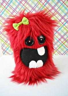 Cinnamon the Wine Red Cute Fuzzy Monster Plush by HinckleDoodle, $20.00