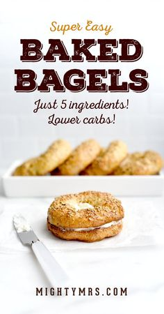 Easy Low Carb Baked Bagels - Coming in at about half the carbs of a regular bagel these easy homemade bagels are just the thing to help you cut carbs without giving up something you love. Just 5 ingredients no boiling no lye no yeast required. Made wi Keto Vs Low Carb, Low Calorie Bread, Low Carb Bagels, Keto Bagels, High Protein Low Carb, Low Carb Recipes, Low Calorie Bagel Recipe, Low Calorie Baking, Bread Recipes