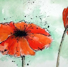 Image result for pen and ink watercolor poppies