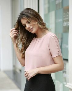 1005 Likes 14 CommentsLike the style of this blouse but the color is too light for my fair skin tone Cute Blouses, Shirt Blouses, Blouses For Women, Blouse Styles, Blouse Designs, Casual Dresses, Fashion Dresses, Western Wear, Ideias Fashion
