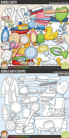 Bubble bath digital scrapbooking elements. Cute bath time clip art. Hand-drawn illustrations for digital scrapbooking, crafting and teaching resources from Kate Hadfield Designs! Click through to see projects created using these illustrations!